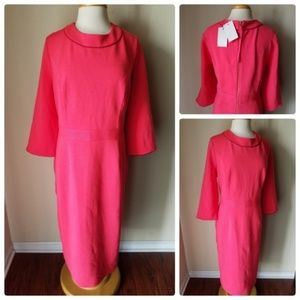 NWT Boden Coral Pink Ribbed Knit Cocktail Dress